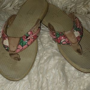 Sperry Pink Floral Flip Flops with Sequins Size 7M